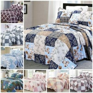 3 Piece Quilted Patchwork Bedspread Printed Comforter Throw Set Double King PCs
