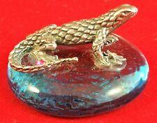 Figurine Décor Lizard Glass Gecko Vintage Metal Pink Rhinestone Animal Miniature