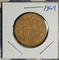 1864 2 CENT PIECE  COLLECTOR COIN FREE SHIPPING