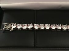 14K White Gold Toned Round Brilliant Lab Diamond Tennis Bracelet 7TCW
