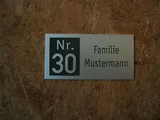 Hausnummer-Namensschild-Klingelschild-Alu silber elox.