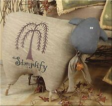 "Brown Fabric Primitive Sheep Embroidery Willow Tree Simplify Shelf Sitter 17""L"
