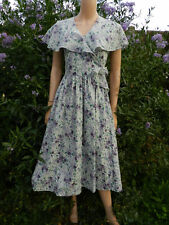 Vintage Laura Ashley Dress 50,S Style Feminine Pretty Dress Cape Collar 8-10