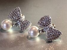 18k Rhodium Plated Fresh Water Pearl Bow Earrings w/ Swarovski Crystal Quality