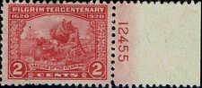 #549 RIGHT MARGIN PLATE #12455 1920 2 CENT PILGRIM ISSUE  MINT-OG/H