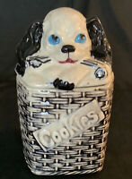 Vintage McCoy 1950's Cookie Jar Rare Blk & Wht Puppy In A Basket Dog Treat Jar