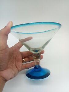 "Martini Glass colbolt Blue rim and base H Blown Glass 5"" Tall"