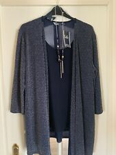 Blue Cardigan Shirt With Necklace Size 22