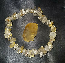 Super Charged Gold Rutilated Quartz Crystal Chip Stretch Bracelet with Citrine