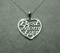 Best Mom Ever Heart Necklace 925 Sterling Silver Pendant Love Mama Mother's Day