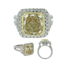 Fancy Yellow GIA 6.50 Carat Cushion Cut Diamond Engagement Ring in 18k Gold