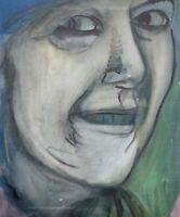 Malerin Brigitte Tietze Berlin Portrait Erika 1989 60 x 50 cm Expressiv