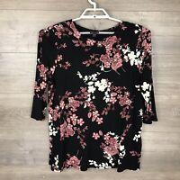 J. Jill Women's Size Petite Large PL Floral Printed Knit Top Black 3/4 Sleeve