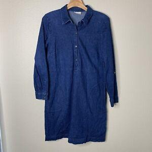 J. Jill Size Medium Petite Denim Chambray Shirt Dress Roll Tab Sleeve Pockets