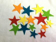 FELT  stars bright colours x 15  applique card making sewing craft