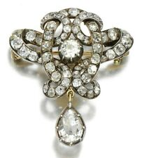 925 Sterling Silver Cz Brooch White Round Pear Vintage Style Handmade - Royale`