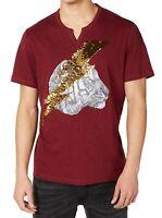 INC Mens T-Shirt Red Size XL Sequin Lightning Bolt Tiger Slub Knit Tee $39 020