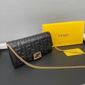 FENDI Black LOGO Pattern Wallet Shoulder Bag