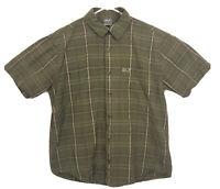 Jack Wolfskin Shirt Mens Size L Green Plaid Short Sleeve Button Down Cotton