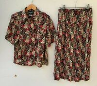 STITCHES vintage retro polyester floral top and pleated skirt set size 10 (S)