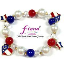 Americana Red White Blue Heart Women Beaded Charm Bracelet with Gift Bag New