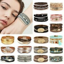 Women Multi-layer Leather Crystal Magnetic Clasp Bracelet Bangle Wristband Gifts