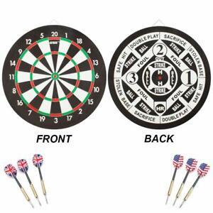 "2-in-1 Baseball & Dart Board Game Set. 18x1"" Dartboard with 6 Steel Tip Darts"