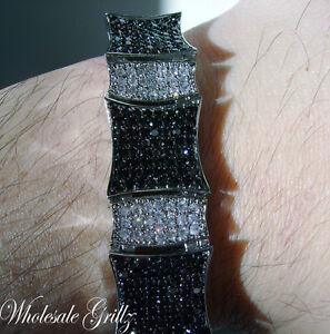 NEW! $399 MENS 14K WHITE GOLD WGP SIMULATE BLACK DIAMOND CUSTOM HIP HOP BRACELET