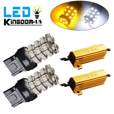 2x 7443 7440 Switchback White/Amber 60SMD LED Turn Signal Light Bulbs+Resistors