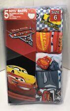 Disney Pixar CARS Boys Cotton Underwear Briefs 5 PK Size 6 Lightning McQueen New