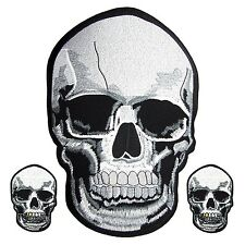 3 Lot SKULL FACE Large Bone Motorcycle Biker Embroidered Iron On Patch Skeleton