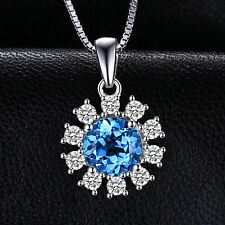 7mm Round Bright Swiss Blue Topaz Flower Necklace Pendant Sterling Silver