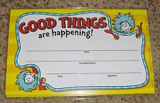 """Teacher Resource: 24 Dr. Seuss """"Good Things are Happening!"""" Award Certificates"""