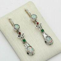 Smaragd Ohrringe  Smaragd & Opal synth.  925er Silber