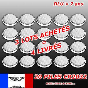 LOT   x 20 Piles bouton CR2032 CR 2032 Lithium PC calculatrice télécommande