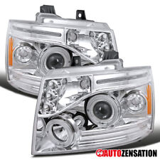 For 2007-2013 Avalanche Tahoe Suburban Clear LED DRL Halo Projector Headlights