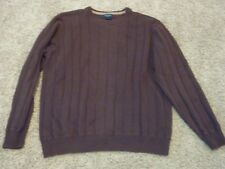 Men Brown DOCKERS 100% Cotton Knit Crew Neck Ribbed Sweater Size L