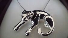 Real 925 Sterling Silver Chunky Statement Animal Big Cat Pendant Chain Necklace