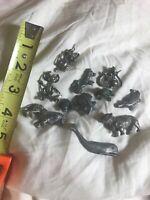 Lot Of Vintage Pewter Animal Miniatures frog poodle bulldog mouse whale lion