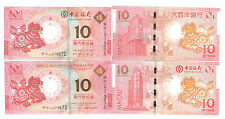 Macau Year of the  Horse Zodiac Commemorative Note pair Same Number UNC 2014