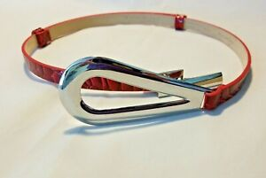 Ladies Red Leather Belt by White House Black Market XS/S NWOT