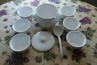 Full Set of Crate & Barrel Soup Tureen with Lid & Spoon & 6 Matching Bowls White