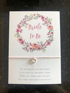 Bride To Be Wish Bracelet - Bride Engagement Hen Party Gift Heart Charm Bracelet