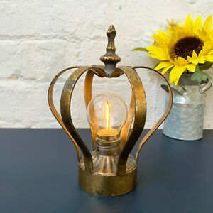 Standing Metal Home Crown Display Battery Powered LED Light Bulb Bedside Lamp