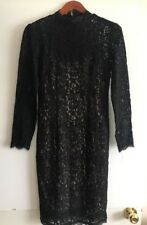 Adrianna Papell black/nude lace dress, size 4, long sleeves, NWT