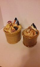 2 VINTAGE ROSSINI HEN ON NEST CONTAINERS WITH LIDS MADE IN JAPAN CERAMIC