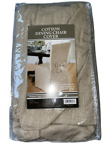 1 Tan Cotton Corded Full Dining Chair Slip Covers Tie Back