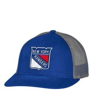 New York Rangers NHL Unisex  Adidas Mesh Back Hat, One size, Blue/Grey