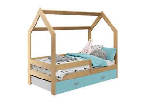 Bett Babybett Kinderbett Hausbett + Schublade + Lattenrost 80x160 Holz Farben