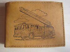 Mankind Wallets-Men's Tan Leather RFID Billfold-FREE Firetruck/Firefighter Image
